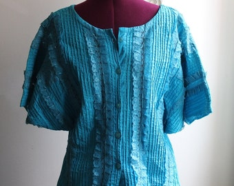 1970s Turquoise Blue Lace Blouse