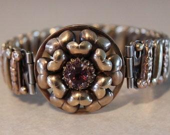 Beautiful Vintage Victorian Stretch Bracelet Signed Lustern 1/20 12k G.F on Sterling Silver