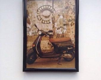Berlin Wall Digital Photograph Vespa (with frame)