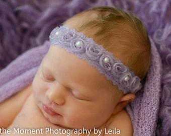 Lavender Pearled Mini Rosette Headband - Floral Halo Headband Newborn Photo Prop Shabby Chic
