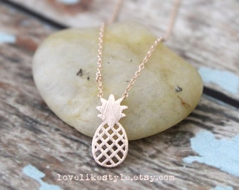 Rose Gold Tiny Pinapple Pendent Necklace, Small Charm Necklace, Pineapple Necklace, Gift for Best Friends