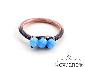 Blue Sky Glass Bead Wire Stacking Ring Copper Black Oxidized Soldered Rustic Band Metalwork Boho Hippie