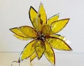 3D Stained Glass Yellow Suncatcher. Flower. Flower of Life - Swirl.