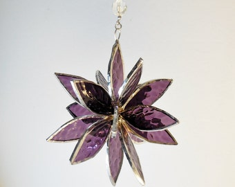 Purple Stained Glass Suncatcher. Purple Flower. Flower of Life, Swirl.