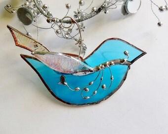 Stained Glass Light Blue Bird. The Happy Bluebird. Ornament. Home Decor. Suncatcher.