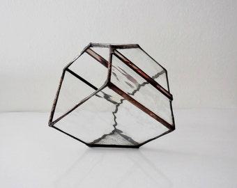Terrarium, stained glass planter geometric 3D shape, cube shape plant holder