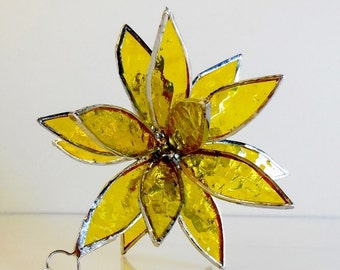 3D Stained Glass Yellow Suncatcher. Flower. Flower of Life - Swirl.