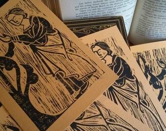 Hand Printed Medieval Card