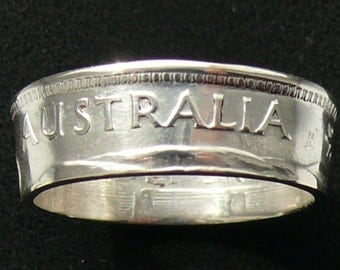 Silver Coin Ring 1963 Australia 1 Shilling, Ring Size 8 and Double Sided