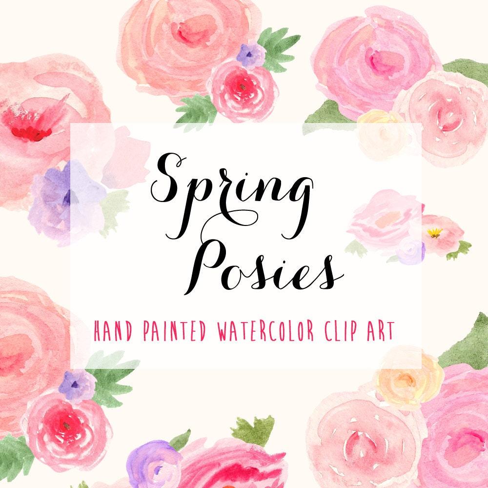 Spring Flower Posies Watercolor Hand Painted Clip Art