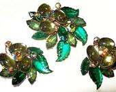 Beau Jewels Brooch Earring Set Signed Sage & Emerald Green Rhinestones Flower Design Vintage