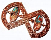 "Native American Copper Brooch Pin Blue Gold Foil Glass BIG 3"" Tribal Vintage"