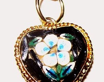 Heart Pendant MIcro Mosaic Signed Italy Blue Flower Gold Metal Cable Chain 18 in Vintage