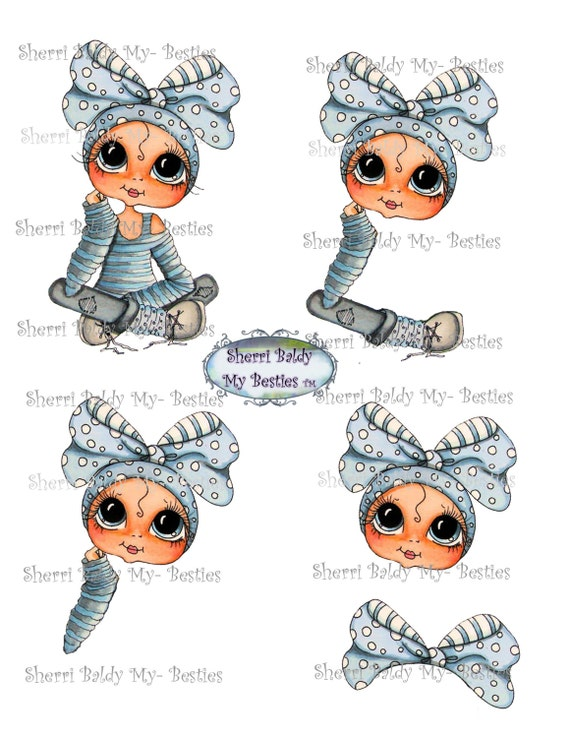Instant Download Blue Girl Little Bestie 3D Decoupage kit Besties Big Head Dolls Digi By Sherri Baldy