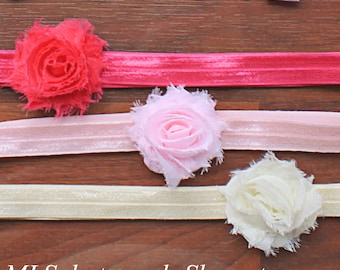 Mini Headband Gift Set with Hot Pink, Baby Pink, & Ivory - Preemie, Newborn Petite Shabby Chic Flower Hair Bow Set