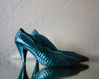 Vintage Malachite Colored Snakeskin High Heels