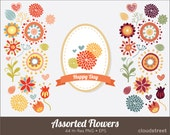 buy 2 get 1 free Assorted flowers clip art for personal and commercial use ( spring flower clipart vector illustration )