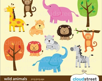 20% OFF Wild Animals Clipart for personal and commercial use ( animal clip art ) vector graphics