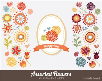 20% OFF Assorted flowers clip art for personal and commercial use ( spring flower clipart vector illustration )