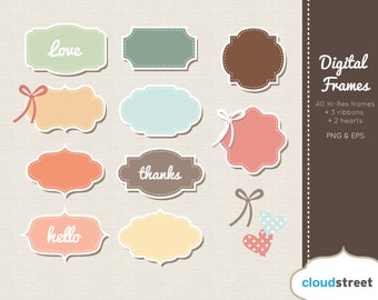20% OFF Cute Digital Frames Clip Art in Pastel ( Retro Frames clipart ) vector graphics for personal and commercial use
