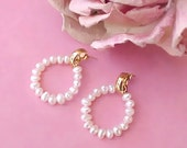 Reserved for Polli:  Lovely Pair of 14K Gold and Freshwater Pearl Earrings for Pierced Ears
