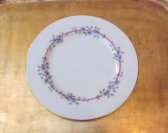 "Lovely ""Belvidere"" Porcelain Luncheon Plate by Lenox-Pink Ribbon-Blue Flowers"