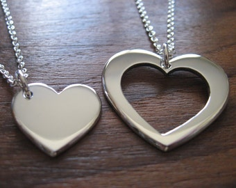 Best Friend Heart Necklace Pendants.