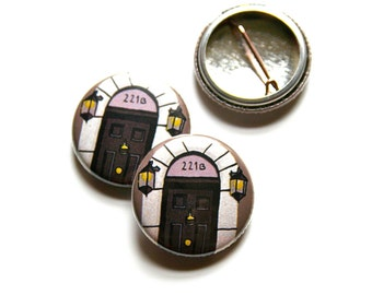 221B Baker Street Pin Badge Sherlock Holmes Badge Geeky Badge
