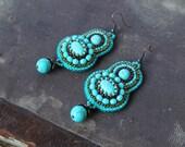 Turquoise Earrings Bead Embroidery Earrings Beadwork Earrings Turquoise Dangle Earrings Turquoise Copper Earrings Tribal Ethnic Jewelry