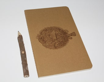 Ocean Life Puffer Fish Lined Journal Diary Notebook
