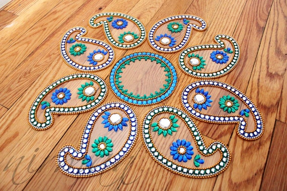 Diwali Rangoli, Wedding table decor, Indian house warming gifts, hostess gift- keri - in Blue and Green