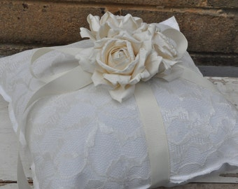 White Cotton and Lace Ring Bearer Pillow  - Simple Ring Bearer Pillow - Woodland Barn Wedding