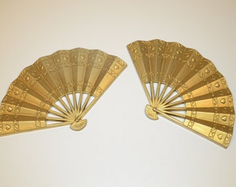 Vintage Burwood Production Company Decorative Wall Hangings - Asian Fans with Playing Cards Motif