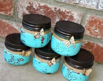 Shabby Chic Jar Candles - Set of Five (5) Painted Mason Jar Candles - Tiffany Blue