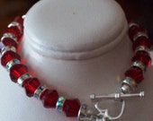 Red 8mm crystal bicones, crystal spacers sterling silver heart clasp 7 half inch         FREE shipping for USA orders ONLY
