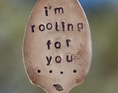 I'm Rooting For You hand stamped Grapefruit Spoon with dots and Leaf Garden Art Marker ~