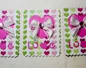3 Postage Stamp embellishments, Scrapbook embellishment, Card Topper, Love note