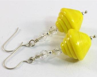 Lampwork & Swarovski Crystal Earrings Yellow Silver - SRAJD