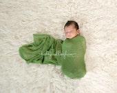 Newborn Knit Stretch Wrap, Newborn Photography Prop, Ready to Ship - Moss