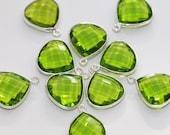 Peridot Green Quartz Faceted Heart Bezel Gemstone Sterling Silver Pendant, 18 x 15 mm GM2232FH/18/SP