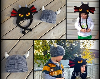 Viking and Dragon Hat - Crochet Pattern Set 122 - US and UK Terms - PDF - Instant Download