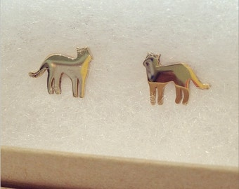 14K Solid Gold Cat Post Earrings