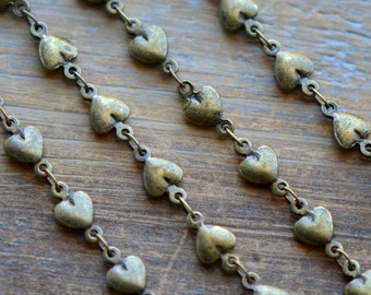 1 Pc - 100cm Heart Necklace Chain Antique Bronze Chain Vintage Style Chain Heart Charm Chain Jewelry Supplies