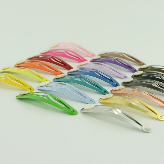 24 Blank BARRETTE Snap Clips w/ Glue Pads CHOOSE COLOR (Tear Drop Shape) 50 mm/2 inches