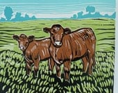 Two Cows--Linocut/Linoleum/Relief Block Print of Two Cows in Green Pasture Farm Landscape Peaceful Rural Field Sale Bargain Clearance