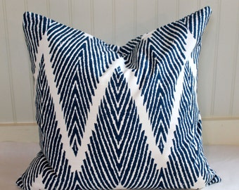 Navy Blue and Ivory Chevron Pillow Covers In Bali Fabric
