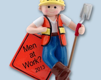Personalized Construction Worker Ornament