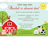 Down On The Farm Baby Shower Invitation  -  Personalized Baby Shower Invites  - Digital / Printable