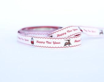 16 mm Happy New Year ribbon, Christmas Pattern Jacquard ribbon, Embroidered border, holiday ribbon,  printed ribbon,  Christmas ribbon