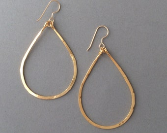 Small Gold Hammered Teardrop Hoop Earrings